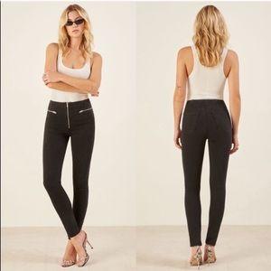 New Reformation Niki zip pocket skinny black jeans